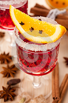 Mulled Wine With Spices And Orange Slices Stock Photos - Image: 27033743