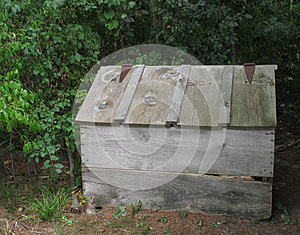 Old Wooden Outside Storage Box With Lid. Royalty Free Stock Photography - Image: 27039507