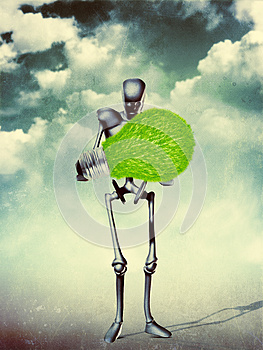 Humanoid With Light Bulb Stock Image - Image: 27067141