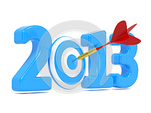Next New Year Whit Blue Target And Red Dart. Royalty Free Stock Images - Image: 27088059