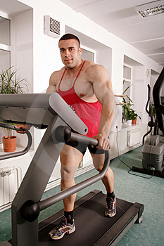 Man on treadmill Royalty Free Stock Image