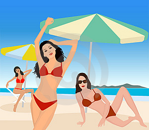 Attractive Girls On Beach Royalty Free Stock Image - Image: 2714856