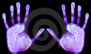 Scanned hands Royalty Free Stock Photo