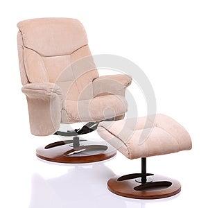 Zamszowy Tkaniny Recliner Krzesło Z ławeczką Obraz Stock - Obraz: 27128191