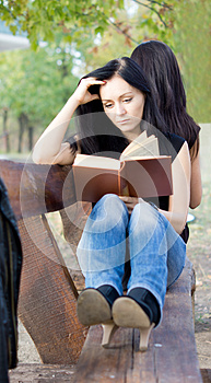 Girl Reading A Book On A Bench Royalty Free Stock Image - Image: 27141056