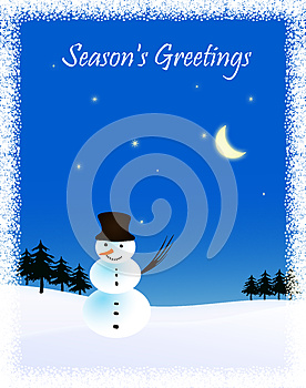 Snowman And Moon. Winter Illustration. Stock Images - Image: 27176604