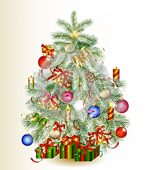 Christmas Tree Decorated By Gifts And Baubles Stock Photography - Image: 27236212