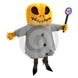 Isolated Pumpkin Witch Casting Spell Illustration Stock Image - Image: 27255381