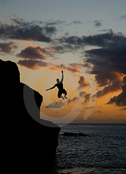 Jumping In Waimea Bay Royalty Free Stock Photos - Image: 2738758