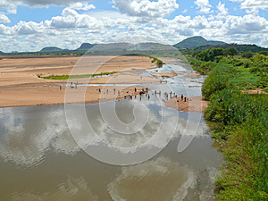 River With Washing People. Royalty Free Stock Photo - Image: 27343745