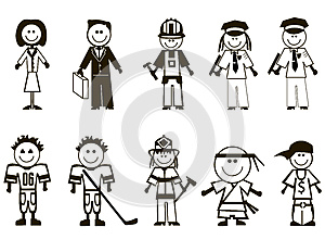 De Beroepenpictogrammen Van Het Beeldverhaal Royalty-vrije Stock Afbeelding - Afbeelding: 27382286
