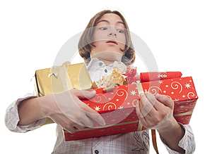 Hands Full Of Presents Royalty Free Stock Photo - Image: 27416775