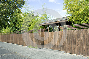 Wooden Fence, Gate And Bamboo Royalty Free Stock Photos - Image: 27466568