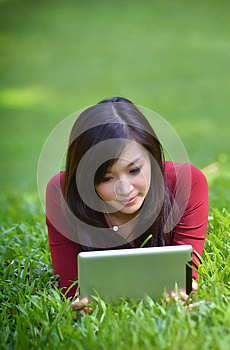 Pretty woman using tablet Stock Photography