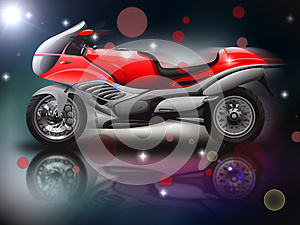 Rode Motorfiets Stock Foto - Afbeelding: 27496620