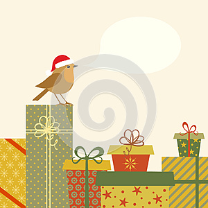Gifts And Robin Royalty Free Stock Image - Image: 27499046