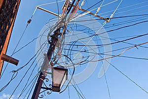 Tangle Of Power Lines Stock Image - Image: 27515891