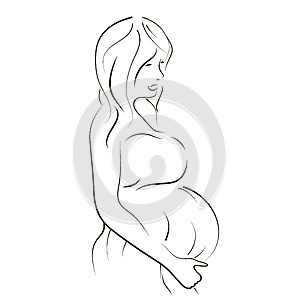 Pregnant Women Sketch Royalty Free Stock Image - Image: 27528956