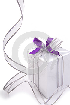 Present With Silver Ribbon Royalty Free Stock Image - Image: 27541526