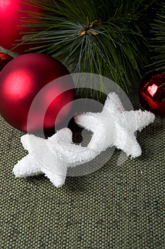 Xmas Baubles On Green Canvas Background Stock Image - Image: 27657511