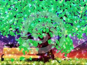 Fantasy Oak Tree With Ravens Royalty Free Stock Photography - Image: 27658527
