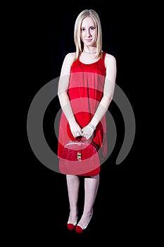 红色的美丽的妇女 库存图片 - 图片: 27685924