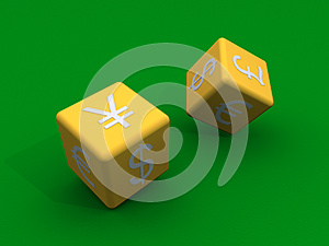 Dice With Currency Symbols At Their Sides Royalty Free Stock Photos - Image: 27694028