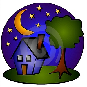 Nighttime Blue House Clip Art Royalty Free Stock Photography