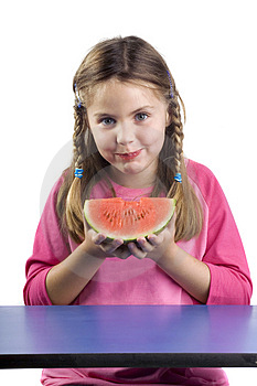 Girl and watermelon Royalty Free Stock Photo