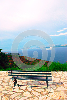 View Of Ionian Sea And A Bench Royalty Free Stock Photography - Image: 27804107