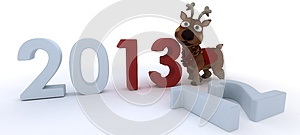 Cute Reindeer Charicature Bringing In The New Year Royalty Free Stock Images - Image: 27807799