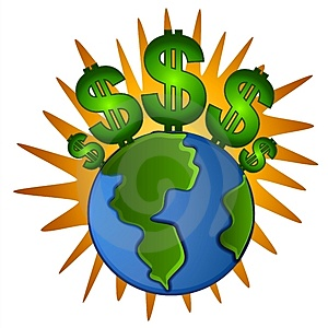 Earth Cash Dollar Signs Money Royalty Free Stock Photo
