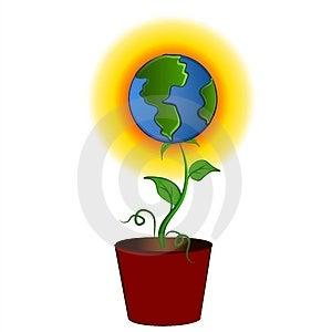 Terra come fiore in clipart del vaso Fotografie Stock Libere da Diritti