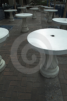 White Patio Tables Royalty Free Stock Photo - Image: 2796865