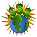 Earth Cash Dollar Signs Money Royalty Free Stock Photo