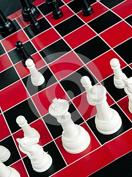 Chess Game Board  Red Black White Colors Royalty Free Stock Photos - Image: 27982988