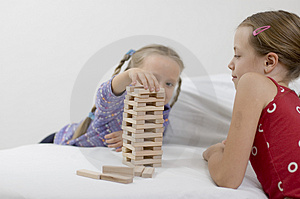 Girls / Game / White Stock Photo