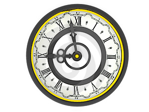 Clock. Nine o'clock Stock Photo