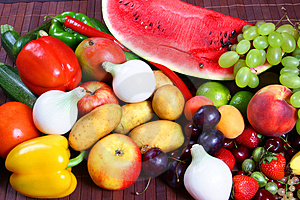 Vegetables and Fruits Stock Photography