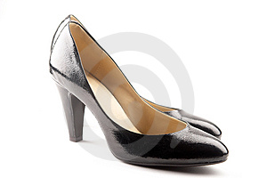 Black patent-leather shoes Royalty Free Stock Image