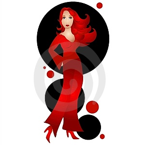Woman Wearing Red On Black Royalty Free Stock Image - Image: 2832526