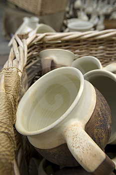 Cups In The Basket Royalty Free Stock Photos - Image: 2837928