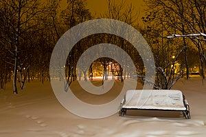 斯诺伊长凳在公园 库存图片 - 图片: 28398251