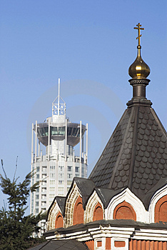 Church With Modern Building Royalty Free Stock Photos - Image: 2845658