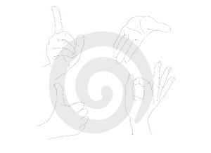 Draw About Hand Posing Royalty Free Stock Images - Image: 2849549