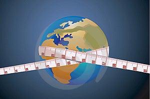 Tape On The Globe Stock Image - Image: 2850031