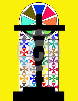 Black Cross On The Colorful Cristal Wall In Temple Royalty Free Stock Photo - Image: 28537775