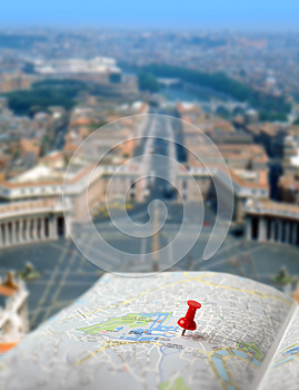 Travel Destination Rome Map Push Pin Blur Stock Images - Image: 28571434