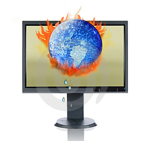 LCD Monitor And Global Warming Royalty Free Stock Photos - Image: 2865588