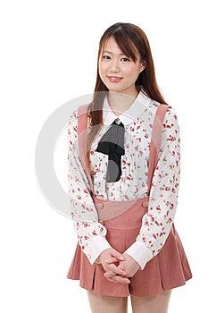 Glimlachende Jonge Aziatische Vrouw Stock Fotografie - Afbeelding: 28705742